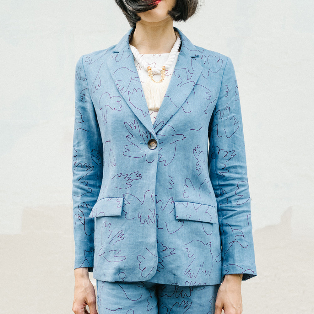 BLUE DOVES LINEN JACKET