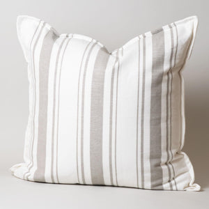 White | Khaki Stripe Pillow Cover