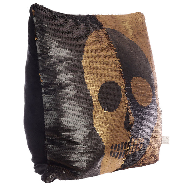 Black and Gold Sequin Skull Cushion - Modern Cushion