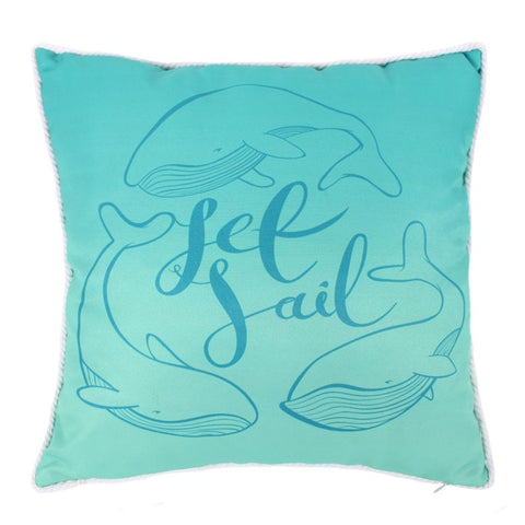 Set Sail Whale Cushion - Modern Cushion