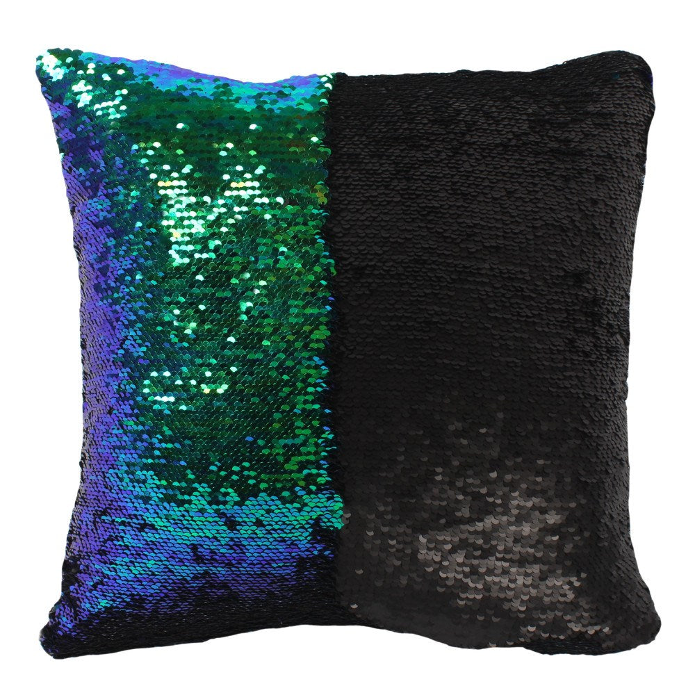 Matte Black and Green Sequin Reversible Filled - Modern Cushion