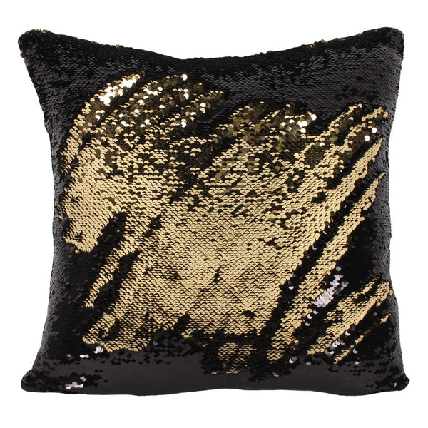 Black and Gold Reversible Sequin Filled Cushion - Modern Cushion