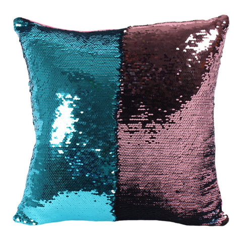 Reversible Blue and Pink Sequin Filled Cushion - Modern Cushion