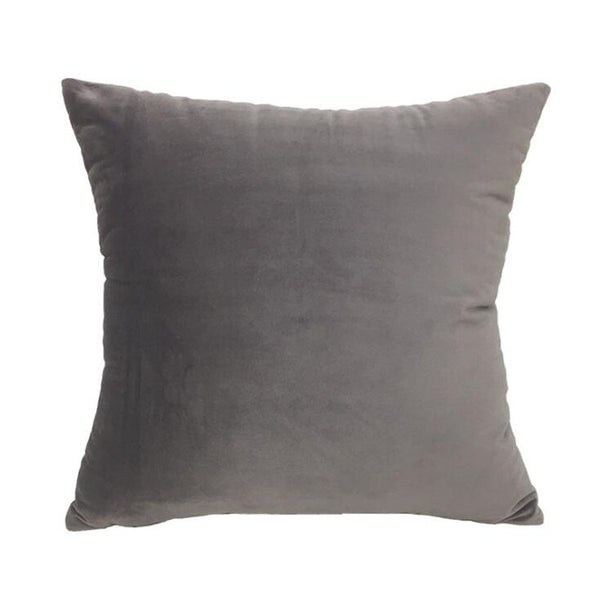 Velvet Velour Natural Grey Cushion - Modern Cushion