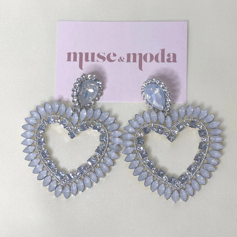 White Pearl Love Heart Rhinestone Earrings