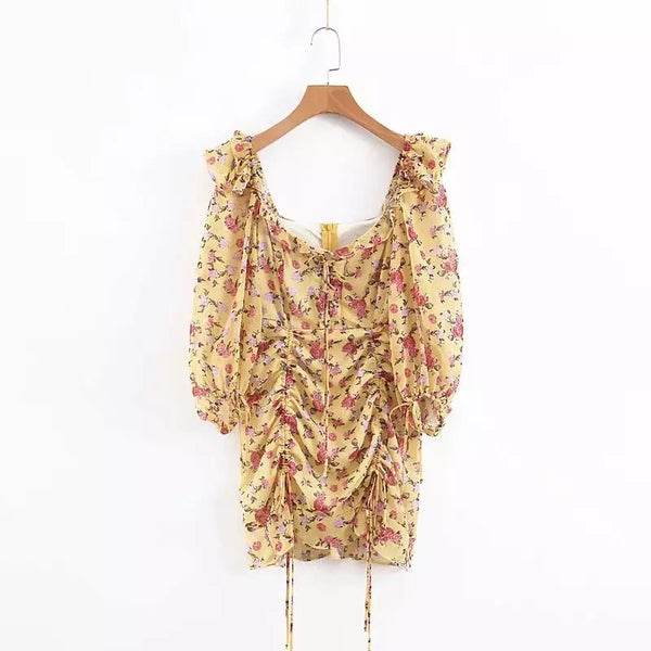 Yellow Floral Ruche Dress