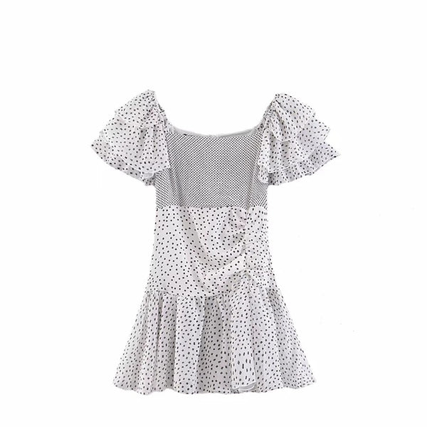 Off the Shoulder Polka Dot Ruffle Dress