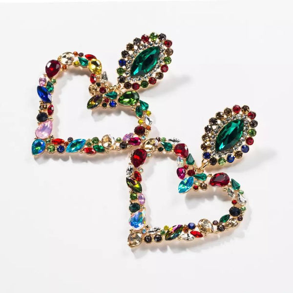 Rainbow Love Heart Rhinestone Earrings