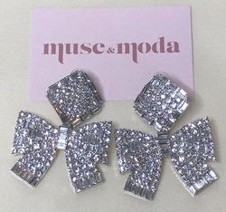 Rhinestone Bow Drop Earrings