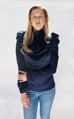 Navy Puff Sleeve Shirt