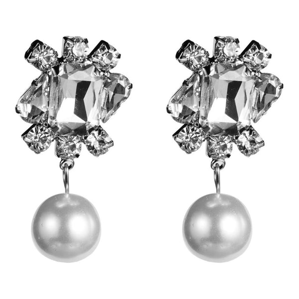 Rhinestone Pearl Drop Earrings