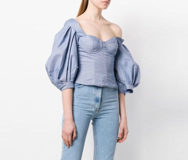 Off the Shoulder Puff Sleeve Blue Top