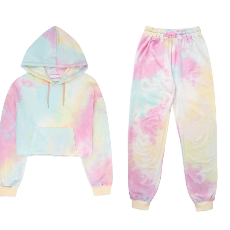 Pastel Tie Dye Crop Lounge Set
