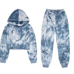 Blue Tie Dye Crop Lounge Set