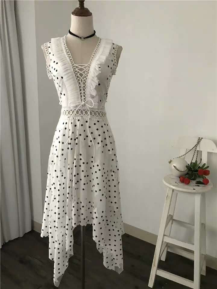 Polka Dot Frill Midi Dress