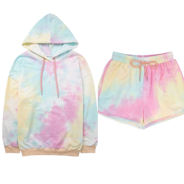 Pastel Tie Dye Shorts Lounge Set