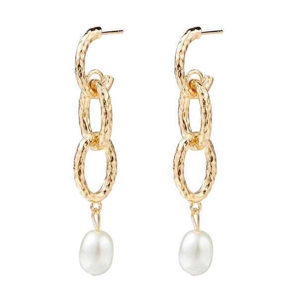 Gold Chain Pearl Drop Earrings