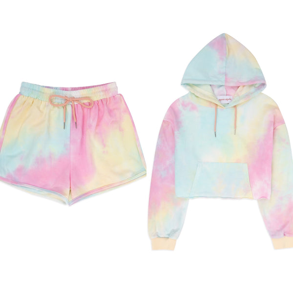 Pastel Tie Dye Crop Shorts Lounge Set