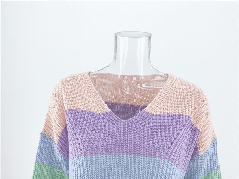 Rainbow V neck Knit