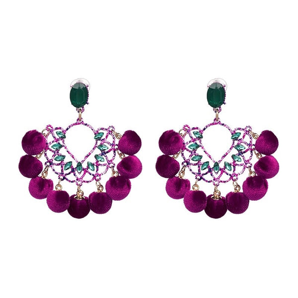 Statement Jewel Pom Earrings