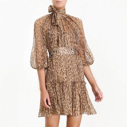 High Neck Leopard dress