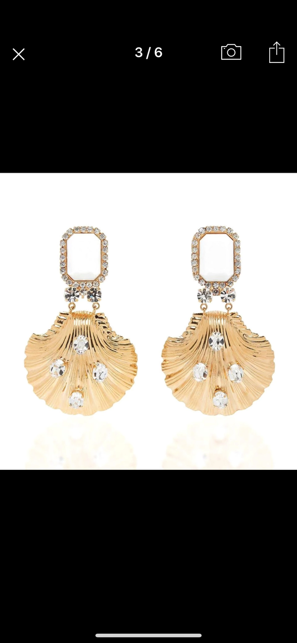 Gold Shell Rhinestone Earrings
