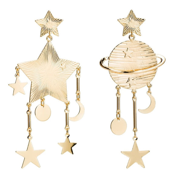 Gold Star Moon Earrings