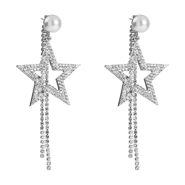 Pearl Star Drop earrings