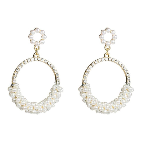 Circular Pearl & Rhinestone Drop Earrings