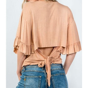Peach Blouse with Ruffle Sleeves - Crown Jewels Boutique