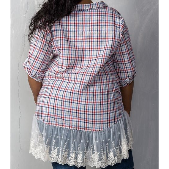 Blue and Red Stripped Button Up - Crown Jewels Boutique