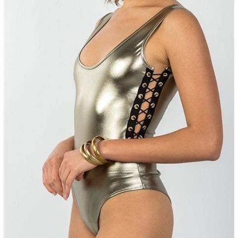 Gold Strappy Bodysuit - Crown Jewels Boutique