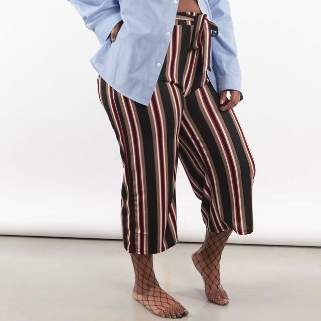 Striped Wide-Leg Capris - Crown Jewels Boutique