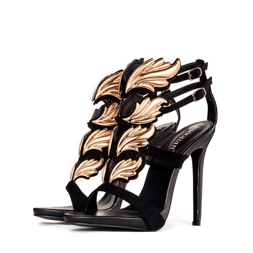 Women's Black and Gold Evening Shoes