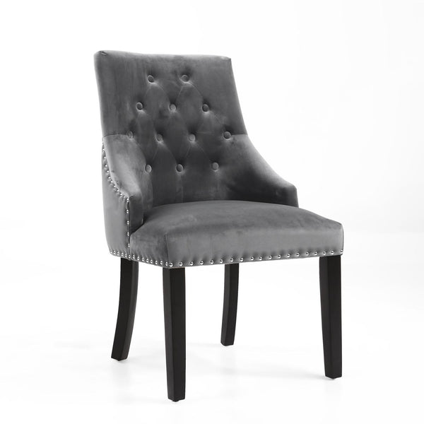 Jackson Accent Chair - Brushed Velvet - Grey