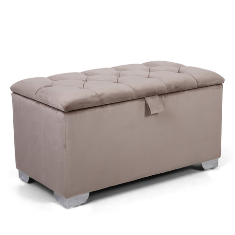 Monique 3ft Ottoman - Brushed Velvet - Mink