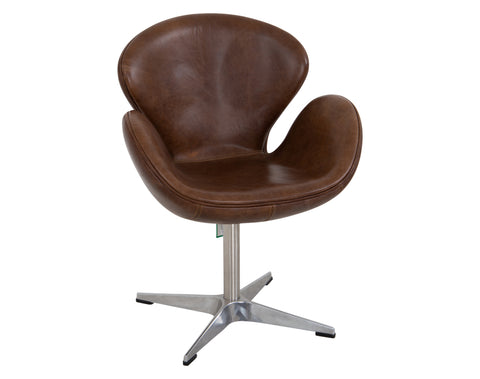 Clover Swivel Bar Chair <br> Chrome <br> Brown