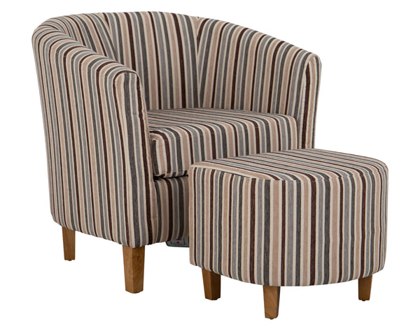 Tub Chair + Footstool <br> Striped Fabric <br> Duckegg