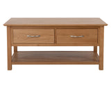 Caserta Coffee Table <br> 2 Drawer <br> Oak