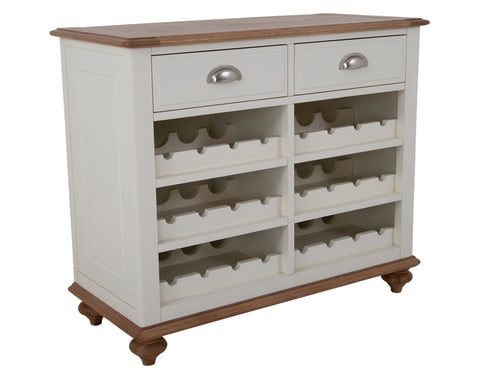 Salwick Wine Cabinet <br> 2 Drawer <br> Antique Ivory