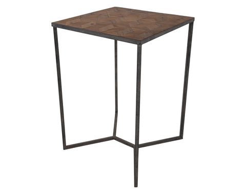 Triton 75cm Sq Bar Table <br> Parquet Top <br> Reclaimed Pine / Metal
