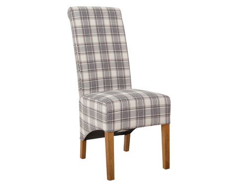 Kahi Dining Chair <br> Herringbone Check <br> Cappuccino