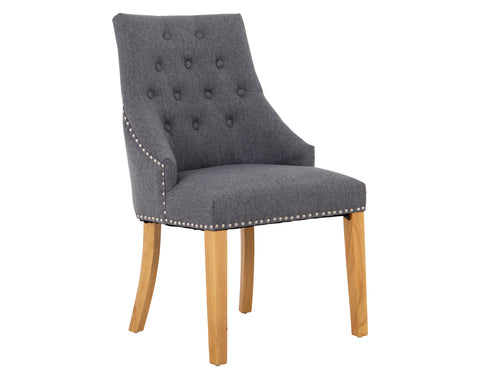 Jackson Dining Chair <br> Button Back <br> Linen Steel Grey