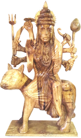 WOODEN STATUE OF HINDU GODDESS  MAA DURGA