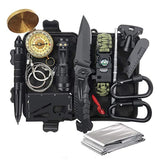 outdoor survival kit tactical pen, wire saw, flashlight, compass, paracord bracelet, carabiners, credit card tool