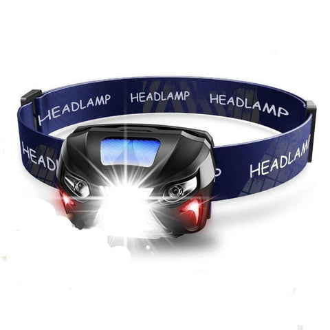 USB rechargeable waterproof LED Headlamp 3 settings blue band