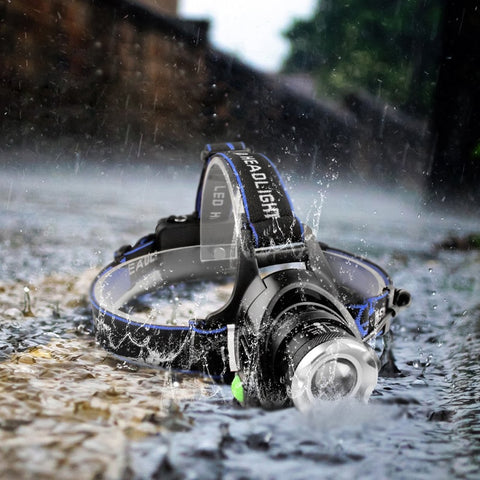 waterproof led headlamp in pouring rain