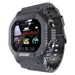 waterproof touchscreen fitness tracker smart watch grey pattern