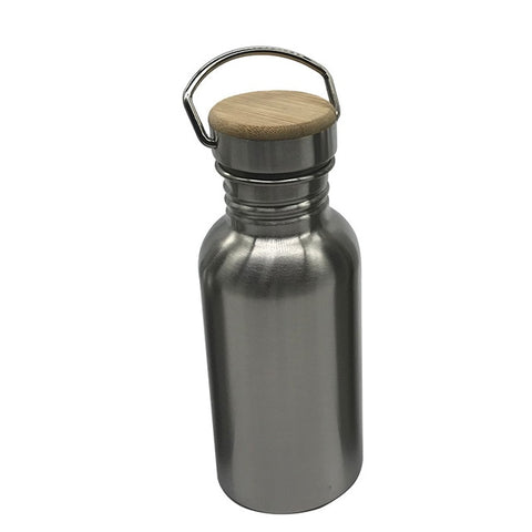 Stainless Steel BPA-Free Bottle with Bamboo Lid (350ml-1000ml)