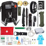survival kit first aid kit, compass, emergency whistle, paracord bracelet, credit card multitool, paracord, fire oxidizer, backpack clip, poncho, scissors, cotton gauss, flashlight, emergency sleeping bag